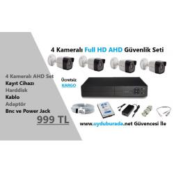 4 Kameralı Full HD AHD 2MP Güvenlik Seti